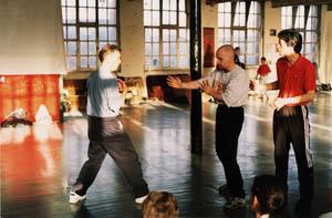 Sifu Paul O'Neal and Grand Master Ip Ching practicing Wing Chun